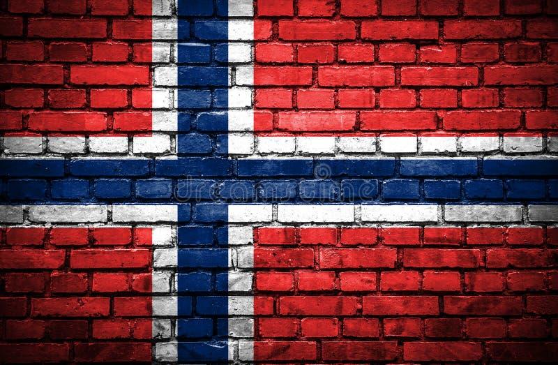 Bakstenen muur met geschilderde vlag van Noorwegen royalty-vrije illustratie