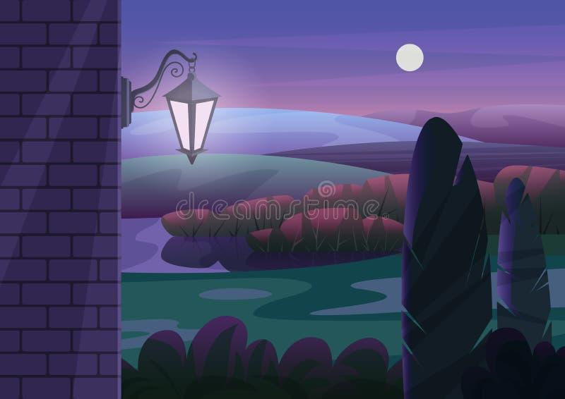 Bakstenen muur met gloeiende lantaarn die tegen tuinstruiken en heuvels bij donkere nacht vectorillustratie wordt gevestigd royalty-vrije illustratie