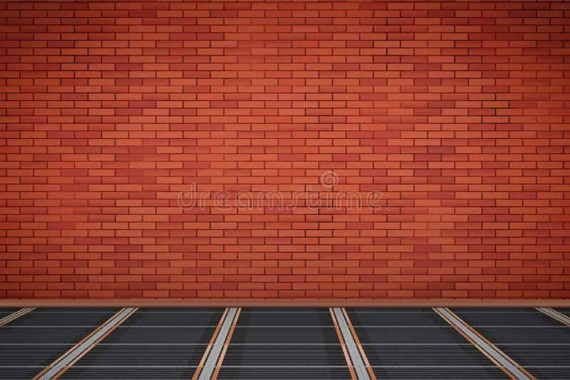 Bakstenen muur met IR-verwarmingsvloer royalty-vrije illustratie
