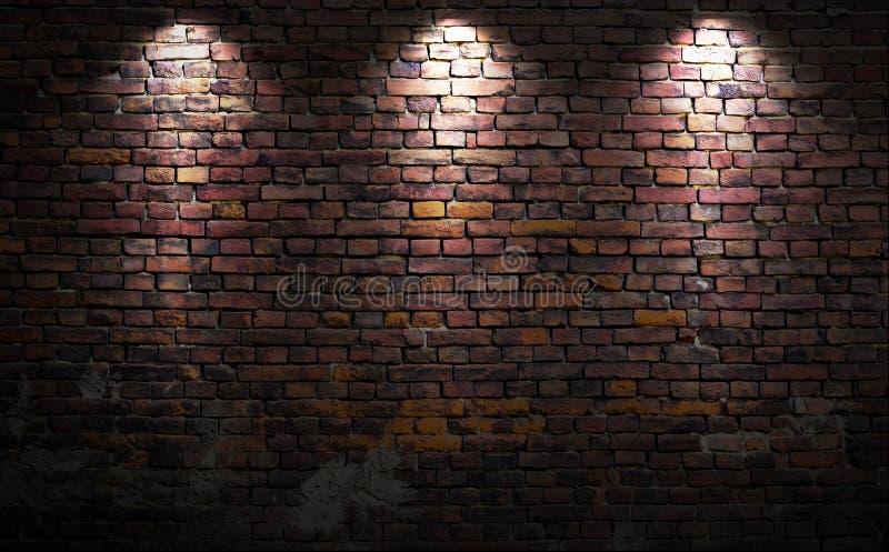 Bakstenen muur met lichten stock afbeelding