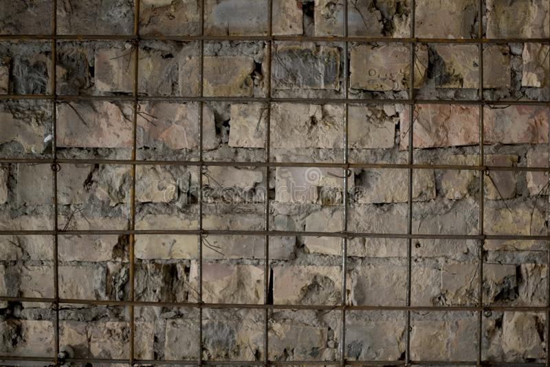 Bakstenen muur met montage stock foto