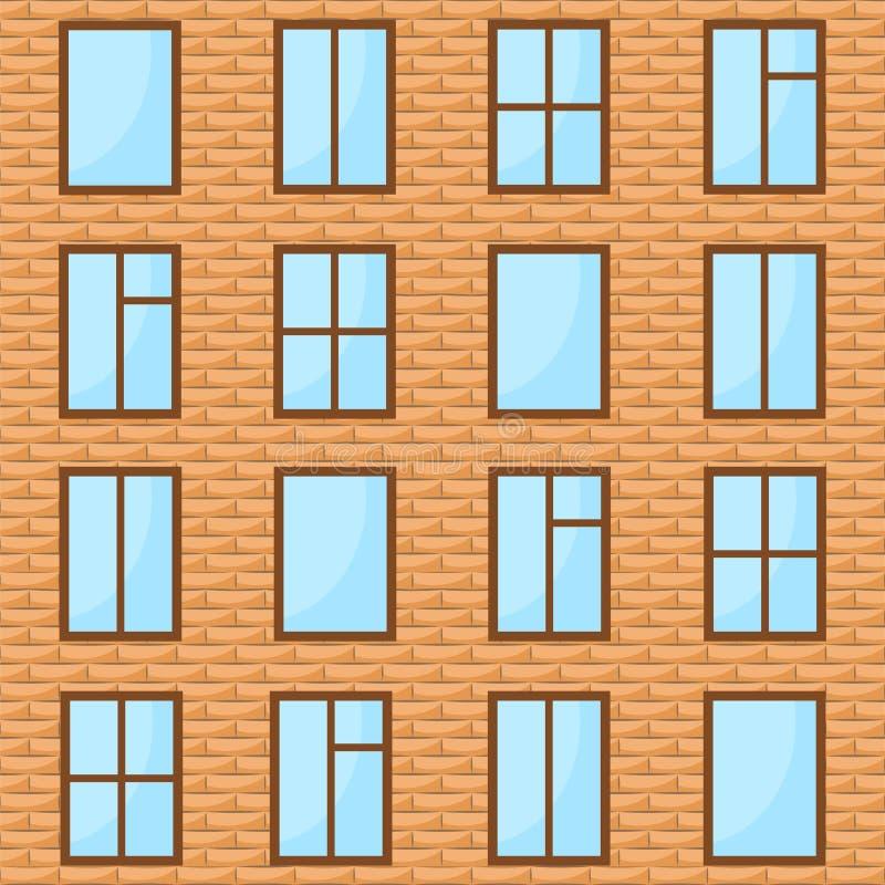 Bakstenen muur met vele vensters als achtergrond, voorraadvector illustr royalty-vrije illustratie