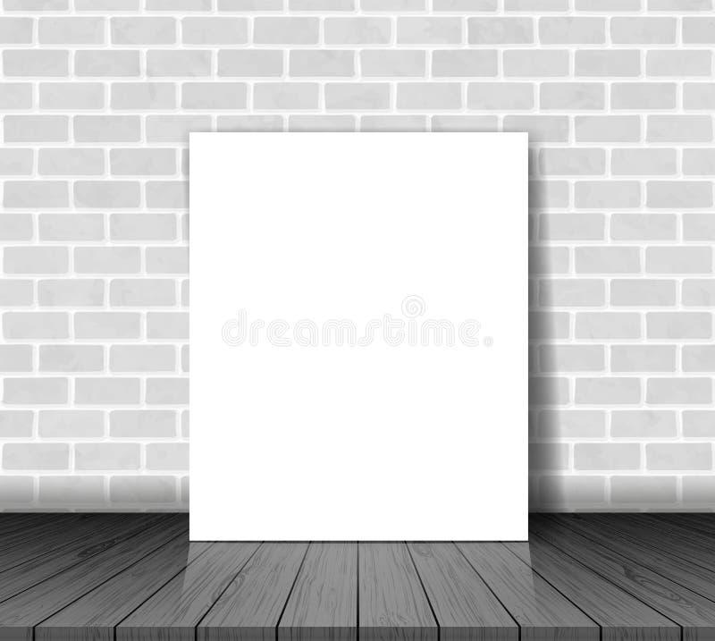 Bakstenen muur met Witboekblad op houten vloervector vector illustratie