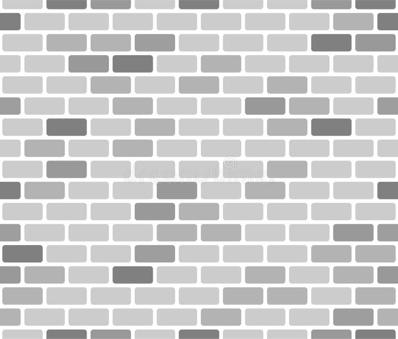Bakstenen muur naadloos patroon, grijs op witte achtergrond vector illustratie