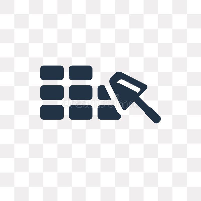 Bakstenen muur vectordiepictogram op transparante achtergrond, Baksteen wordt geïsoleerd royalty-vrije illustratie