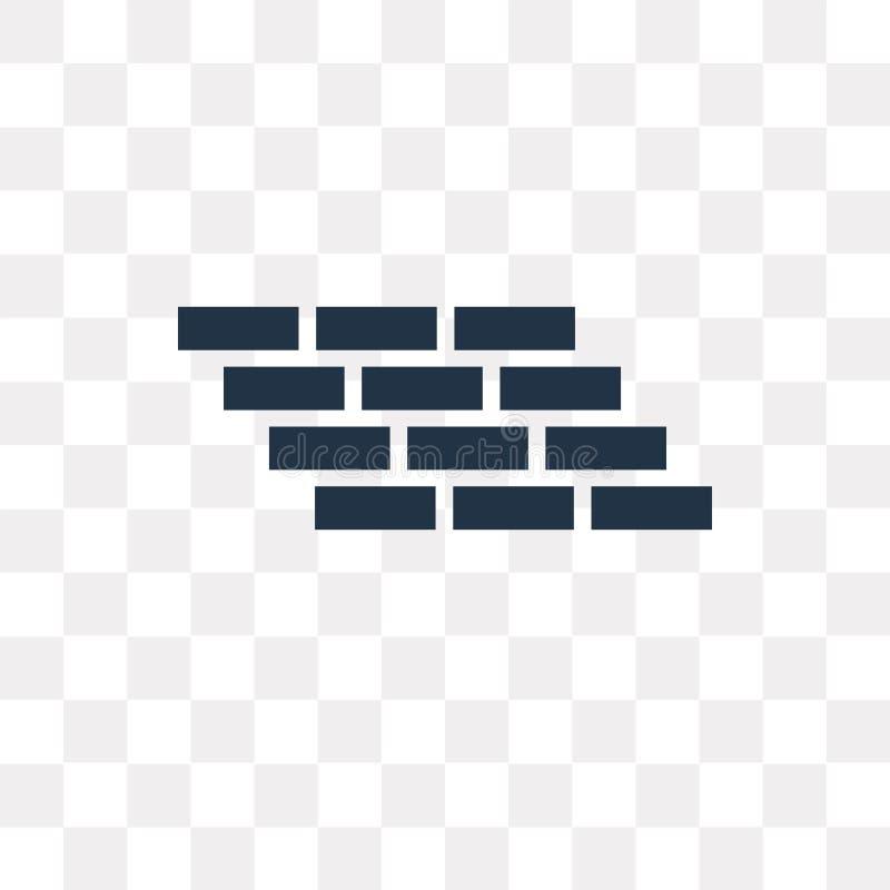 Bakstenen muur vectordiepictogram op transparante achtergrond, Baksteen wordt geïsoleerd vector illustratie
