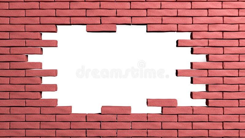 Bakstenen muurkader met gat royalty-vrije illustratie