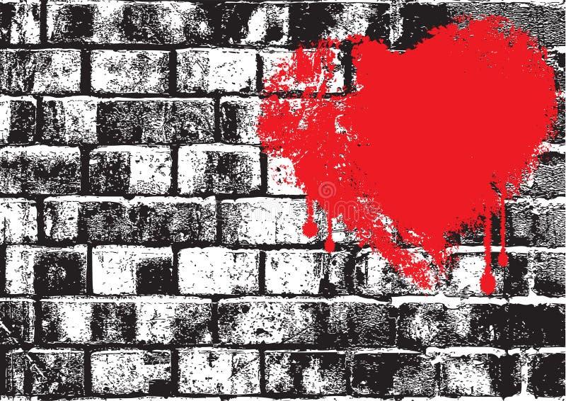 Bakstenen muurliefde stock illustratie