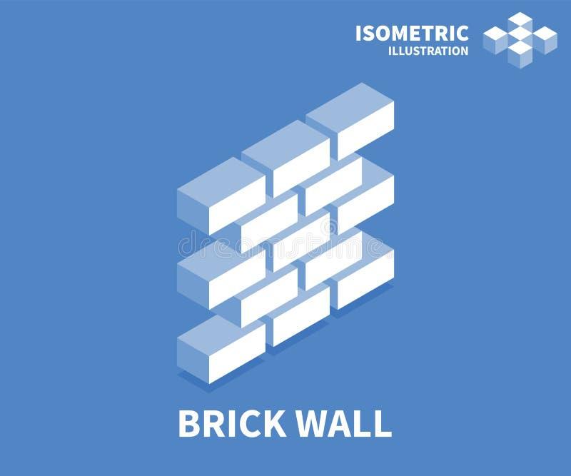 Bakstenen muurpictogram Isometrisch malplaatje voor Webontwerp in vlakke 3D stijl Vector illustratie stock illustratie
