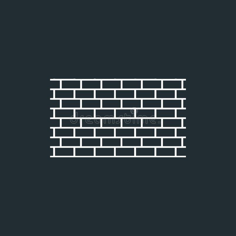 Bakstenen muurpictogram in in vlakke stijl vector illustratie