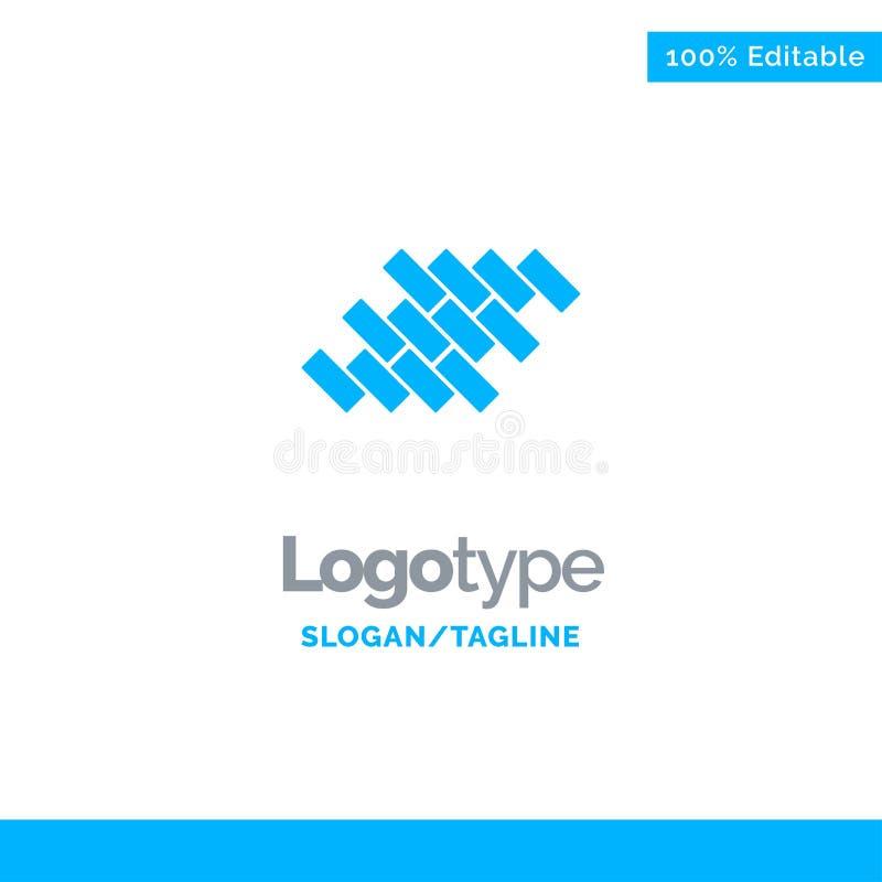 Bakstenen, Reparatie, Tegel, Blok, Bouw Blauw Stevig Logo Template Plaats voor Tagline stock illustratie