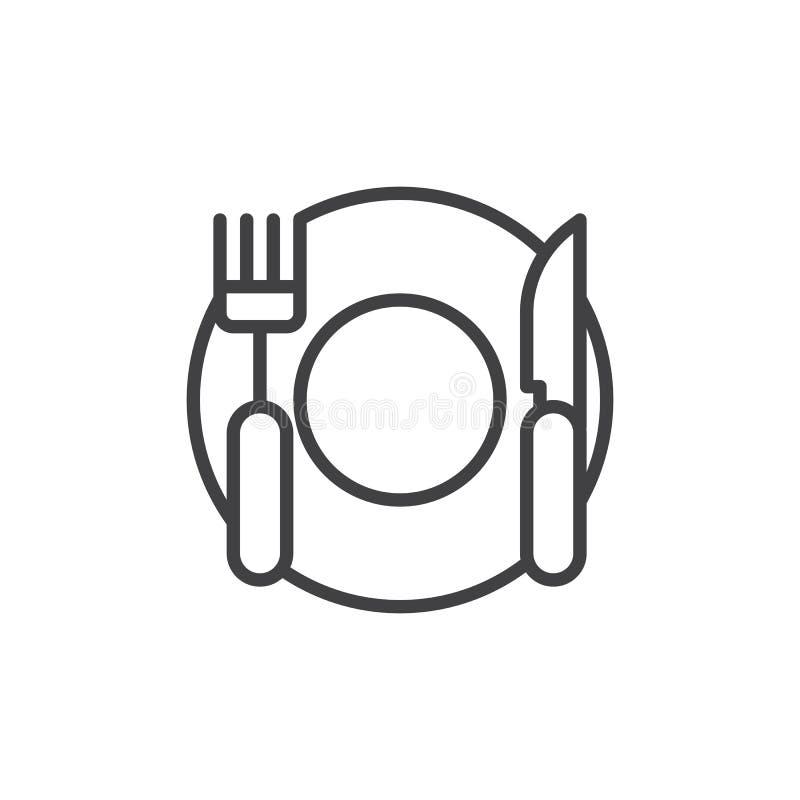 Baktala gaffeln och plätera översiktssymbolen för den bästa sikten royaltyfri illustrationer