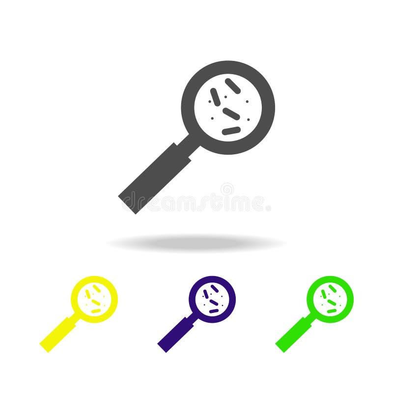 bakteria pod powiększać - szklana kolor ikona Element wirusowa kolor ikona Znaki i symbolu koloru inkasowa ikona dla stron intern royalty ilustracja