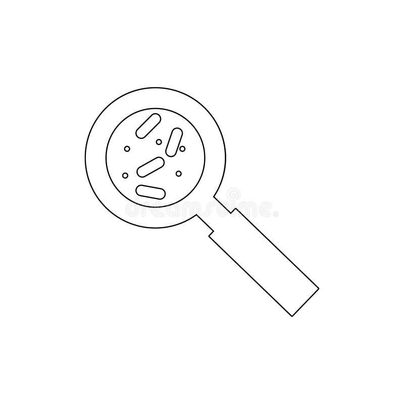 bakteria pod powi?ksza? - szklana kontur ikona Element wirusowa ikona Premii ilo?ci graficznego projekta ikona podpisz symboli ilustracja wektor