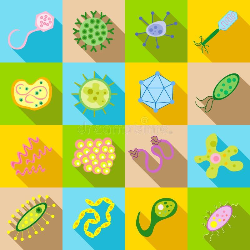 Bakterie- och patogensymboler ställde in, plan stil stock illustrationer