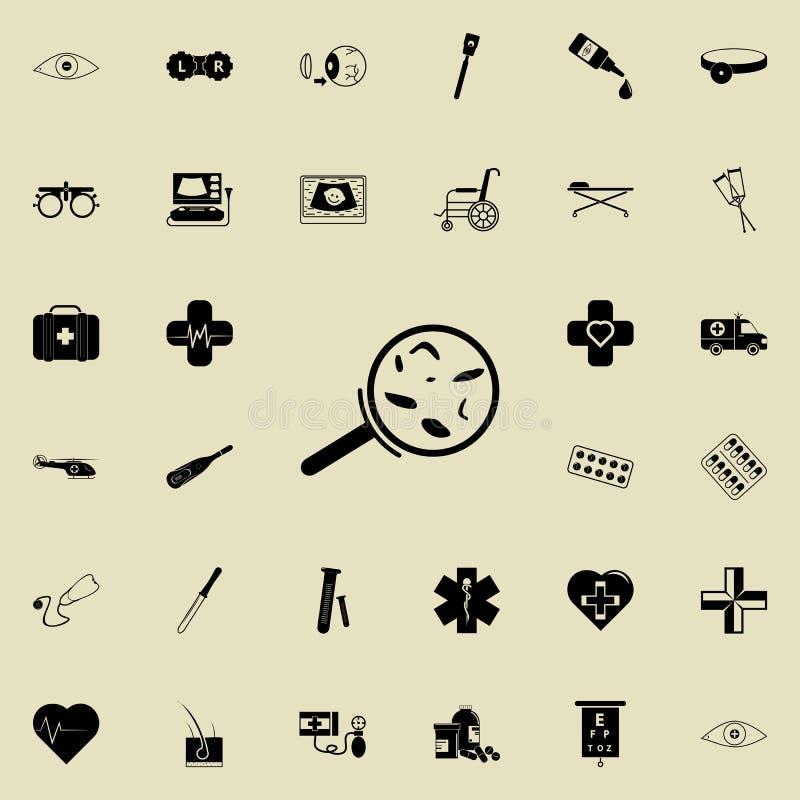 Bakterie pod powiększać - szklana ikona Medycyn ikon ogólnoludzki ustawiający dla sieci i wiszącej ozdoby ilustracji