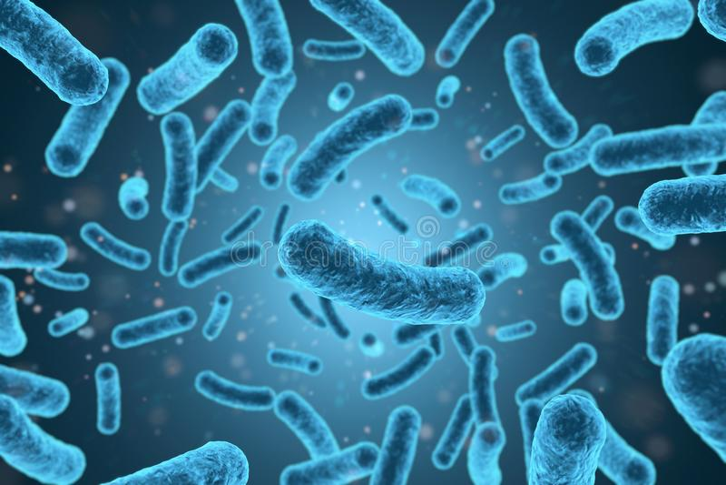 bakteriecloseup för tolkning 3D i blå bakgrund vektor illustrationer