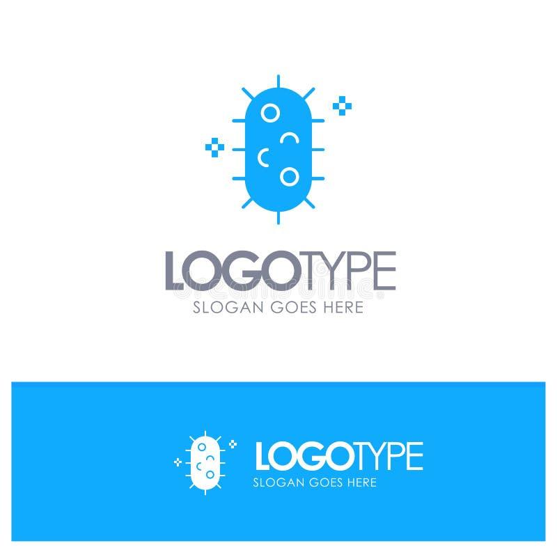 Bakterien, Biochemie, Biologie, Chemie-blaues festes Logo mit Platz für Tagline lizenzfreie abbildung