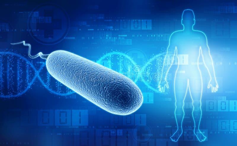 Bakterier för E coli på medicinsk teknologibakgrund 3d framför vektor illustrationer