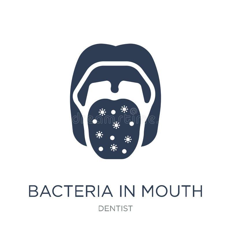 Bakterier i munsymbol Moderiktiga plana vektorbakterier i munico royaltyfri illustrationer