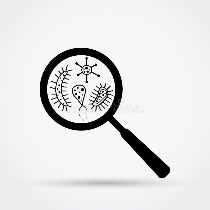 Bakterier och bakterier under förstoringsglaset royaltyfri illustrationer