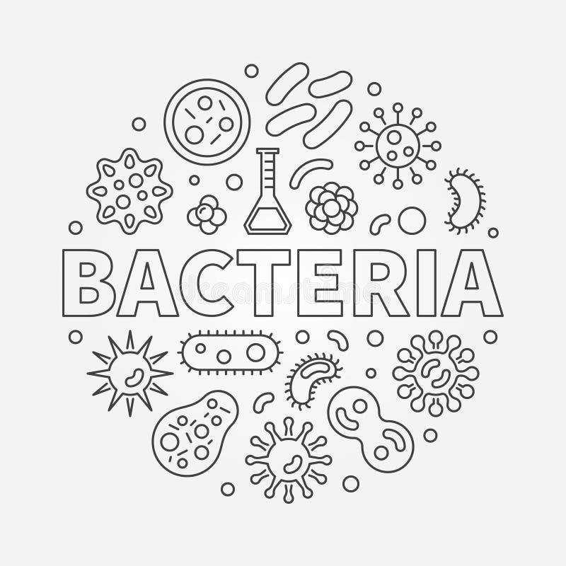 Bakterier rundar symbolet som göras med olika bacteriassymboler vektor illustrationer