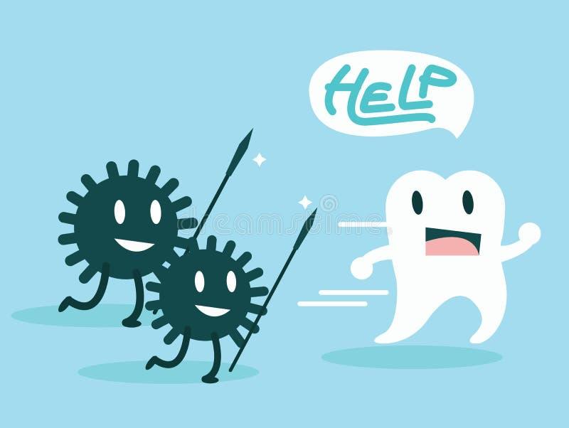Bakterier som anfaller tänderna set vektor för teckeningrepp royaltyfri illustrationer