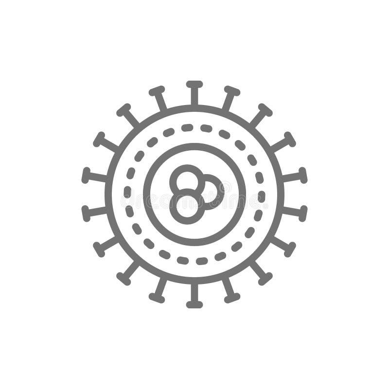 Bakterier virus, bakterier, encellig linje symbol stock illustrationer