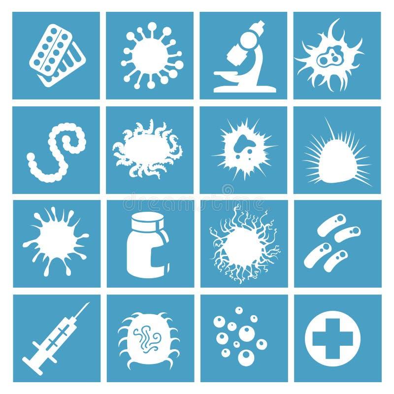 Bakterier, virus och mikroorganismer royaltyfri illustrationer