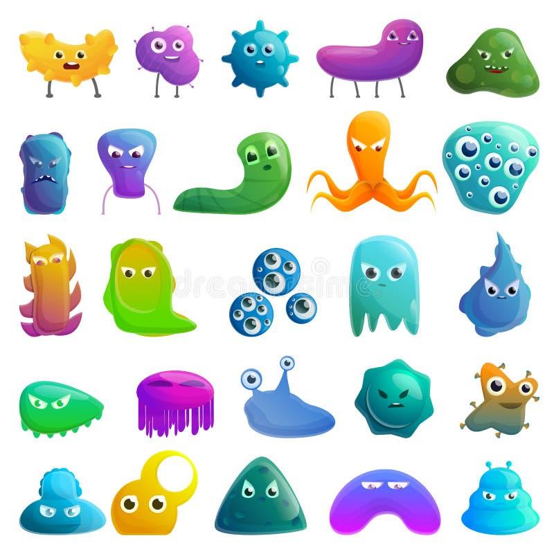 Bakteriesymboler upps?ttning, tecknad filmstil royaltyfri illustrationer