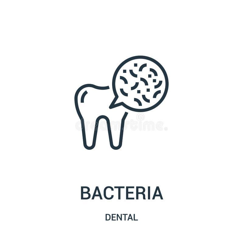 bakteriesymbolsvektor från tand- samling Tunn linje illustration f?r vektor f?r bakterie?versiktssymbol Linj?rt symbol vektor illustrationer