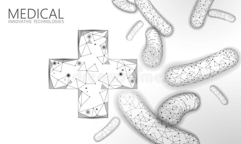 Bakterii 3D niski poli- odp?aca si? probiotics Zdrowa normalna przetrawienie flora Nowożytna allergist gastroenterologist technol ilustracja wektor