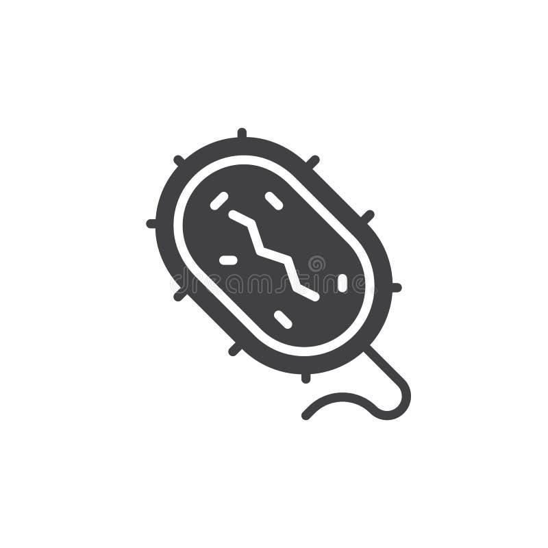 Bakterii ikony wektor, wypełniający mieszkanie znak, stały piktogram odizolowywający na bielu royalty ilustracja