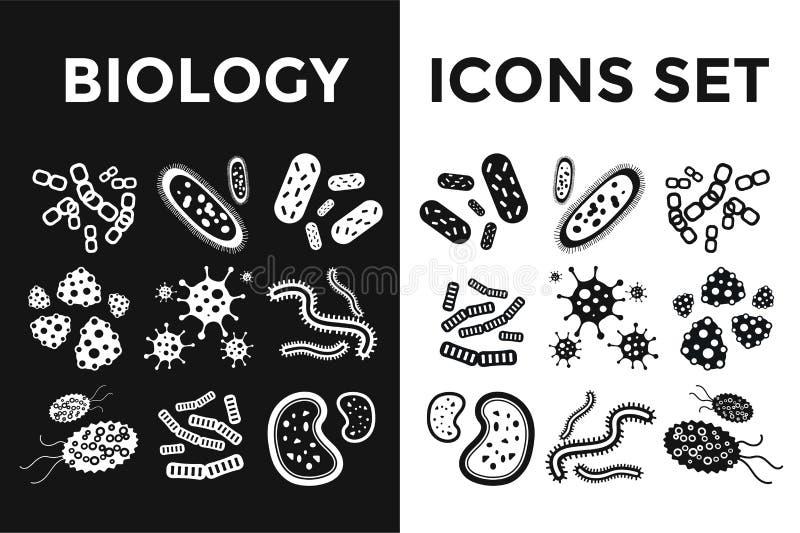 Bakterii wirusowe czarny i biały wektorowe ikony ustawiać ilustracji