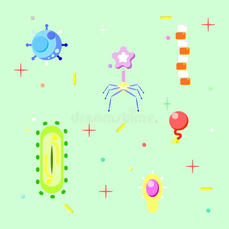 Bakterium und Virus lizenzfreie abbildung