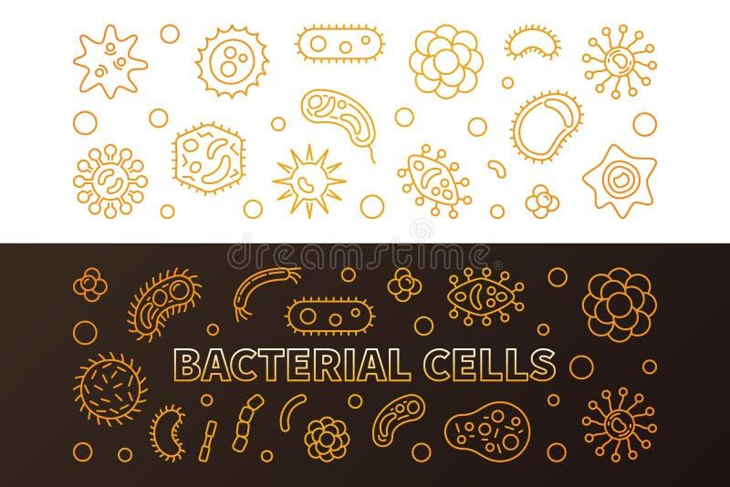Bakteryjne komórki 2 złotego kreskowego sztandaru - wektorowa ilustracja ilustracji