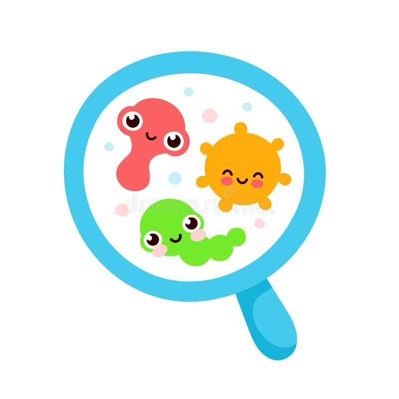 Bakteryjny mikroorganizm w okr?gu ilustracja wektor