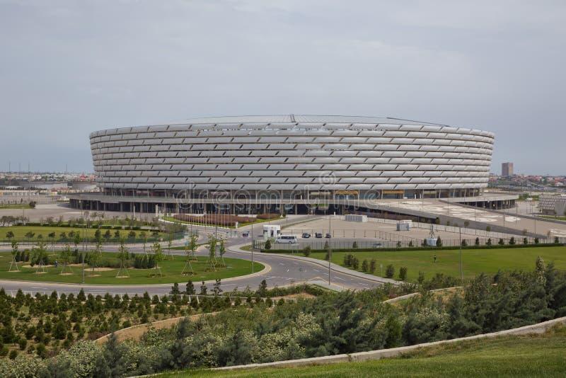 Baku, Azerbaijão: O dia do fósforo em Baku Olympic Stadium Há hortaliças em torno de Baku Olympic Stadium imagens de stock royalty free