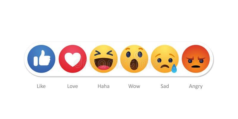 Baku, Azerbaijan - April 23, 2019: Facebook new like reactions buttons vector illustration