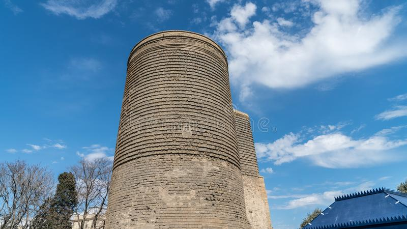 The Maiden Tower also known as Giz Galasi, located in the Old City in Baku, Azerbaijan. Baku, Azerbaijan - April 2018: The Maiden Tower also known as Giz Galasi stock photography