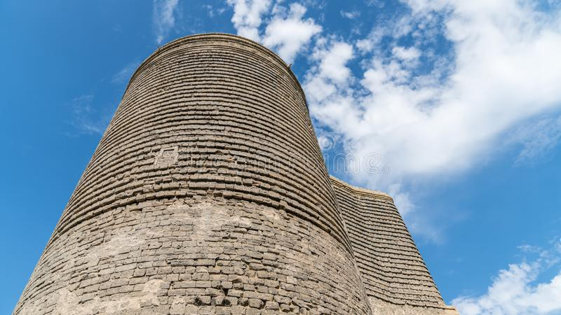 The Maiden Tower also known as Giz Galasi, located in the Old City in Baku, Azerbaijan. Baku, Azerbaijan - April 2018: The Maiden Tower also known as Giz Galasi royalty free stock photo