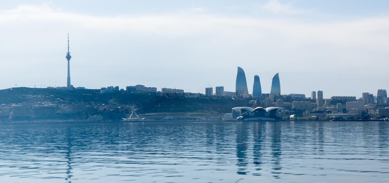 Baku, Azerbaijan - April 13, 2019: Panoramic sunny summer view of Baku, capital city of Azerbaijan. Panorama Baku from The Caspian stock photography