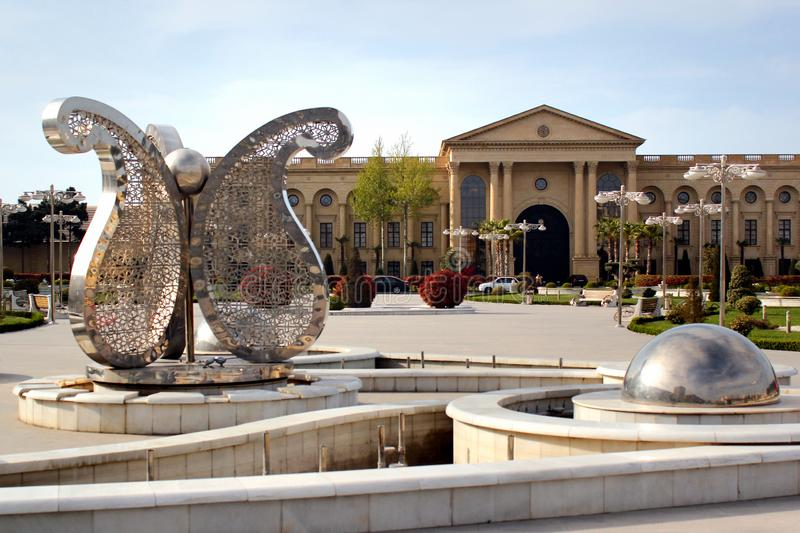 Street fountain with Buta motif in Baku, Azerbaijan. Baku, Azerbaijan - April 28, 2017: Street fountain with Buta Paisley, a droplet-shaped vegetable motif. It royalty free stock images
