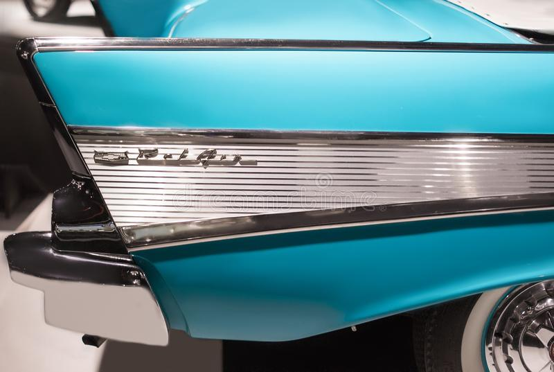 Chevrolet Bel Air of 1957 vintage american car close up. Side view royalty free stock photography
