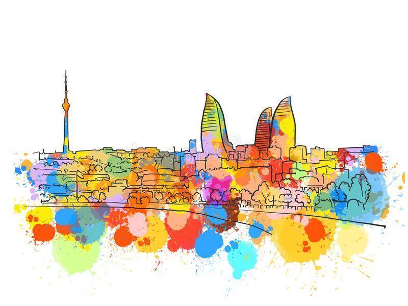Baku Azerbaijan Colorful Landmark Banner stock illustrationer