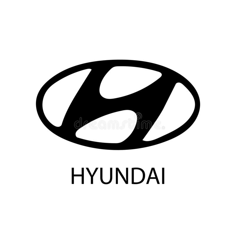 Baku, Azerbaijan - December 17, 2018: Logotype of Hyundai car corporation isolated flat vector icon stock illustration