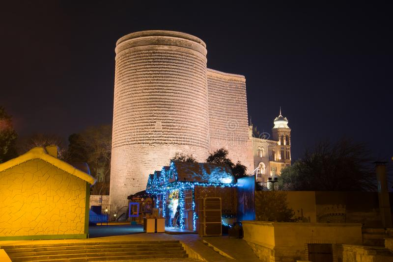 Maiden Tower in the late evening. Baku royalty free stock photos