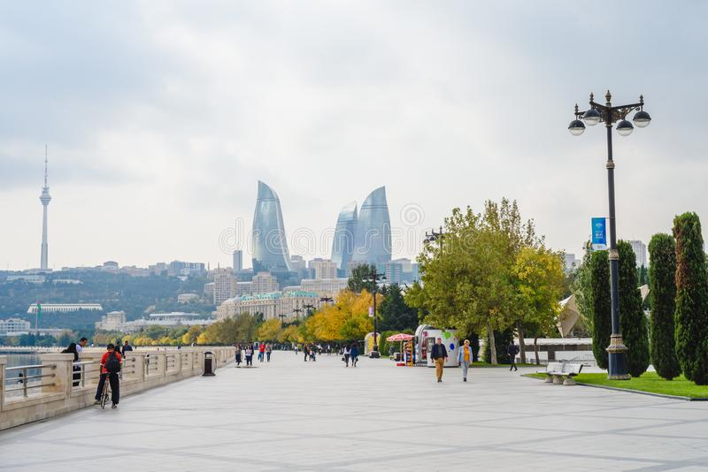 Baku, Azerbaijan, 23 2018. Embankment of the National Seaside Park, Baku Boulevard stock image