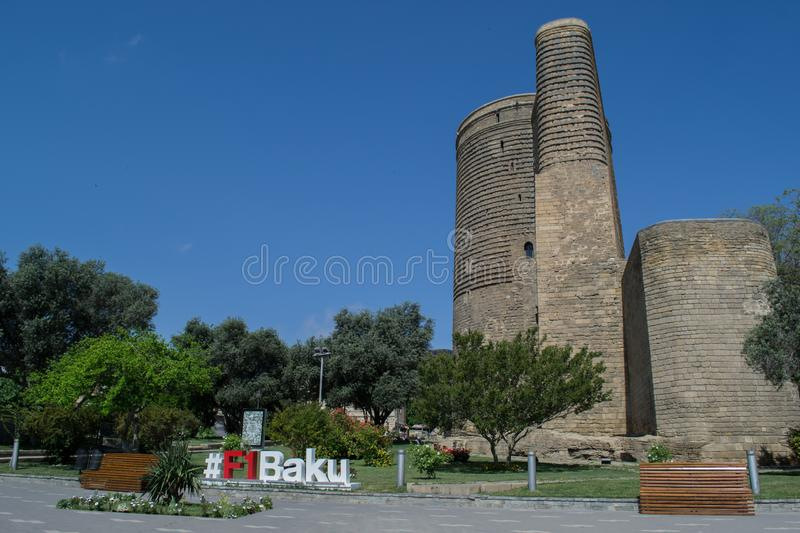 15 2017 Baku, Azerbaijan. F1 The Maiden Tower also known as Giz Galasi, located in the Old City in Baku, Azerbaijan. 15 2017 Baku, Azerbaijan. F1 The Maiden royalty free stock image