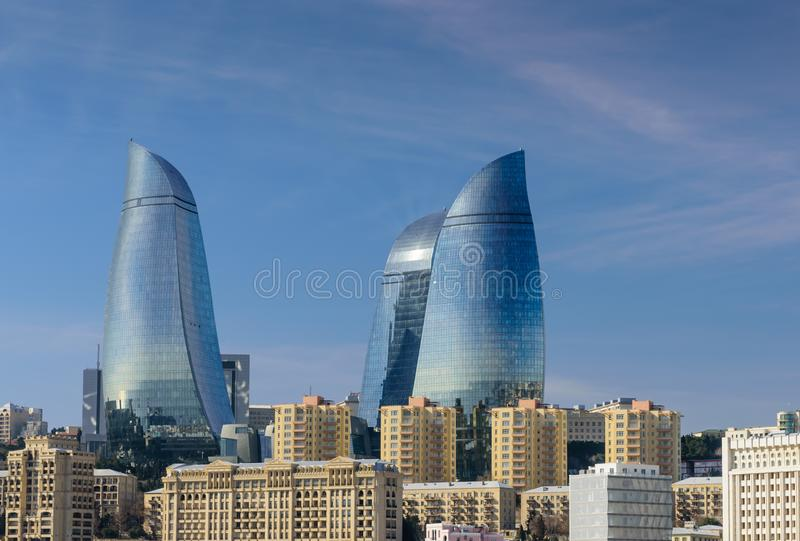 Baku Flame Towers. Baku, Azerbaijan - February 25, 2017: Picture view of the Baku towers. Baku Flame Towers are popular modern architectural and tourist royalty free stock images